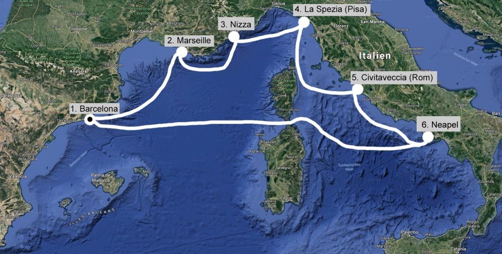 Kreuzfahrt westliches Mittelmeer